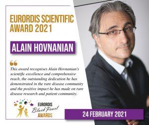 Read more about the article Le Professeur Alain Hovnanian aux «EURORDIS Black Pearl scientific award 2021»