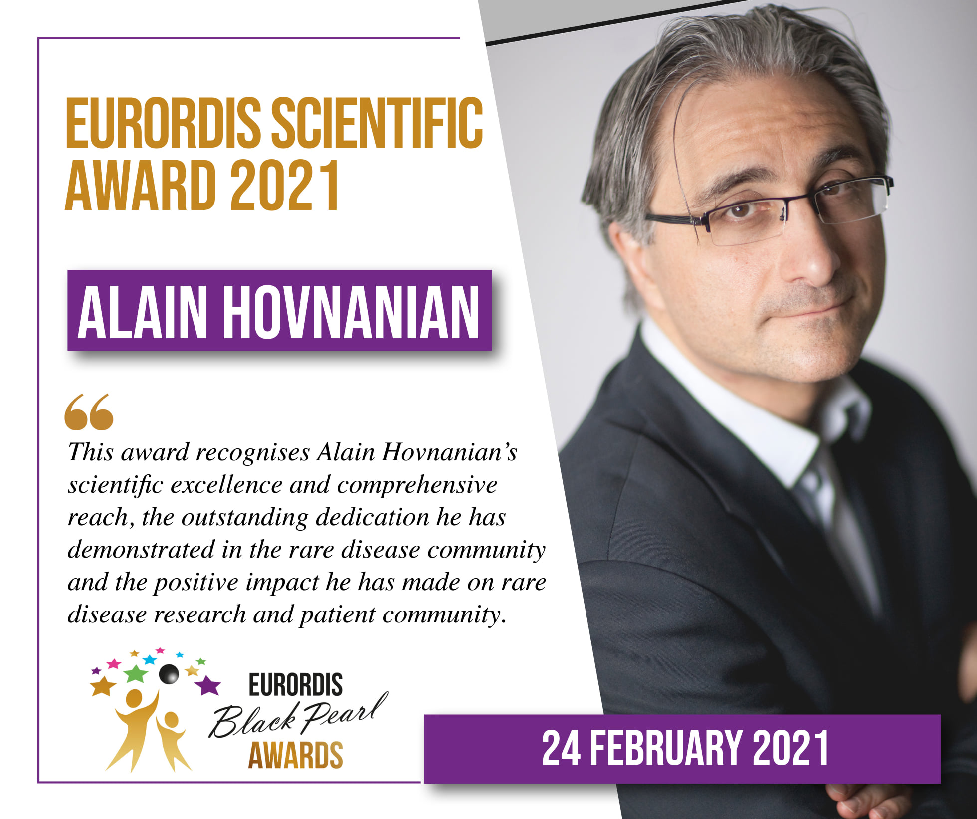 "Le Professeur Alain Hovnanian aux ""EURORDIS Black Pearl scientific award 2021"""